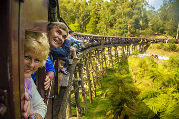 Puffing Billy over a bridge